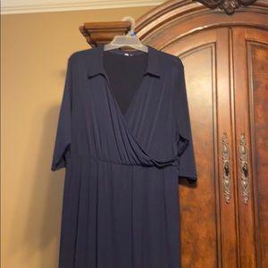 Navy Blue faux wrap maxi dress